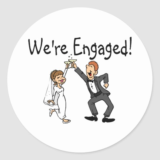 We're Engaged Round Sticker
