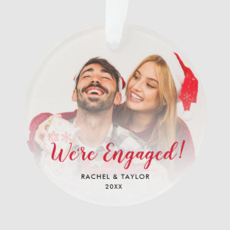 We're Engaged Wedding Couple Christmas Ornament