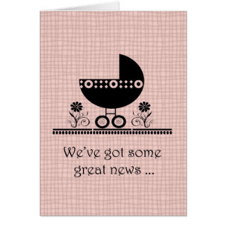 We're Expecting A Baby Pink Announcement Note Card