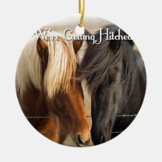 We're Getting Hitched (Two Horses) Round Ceramic Decoration