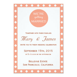 """WE'RE GETTING MARRIED"" PINK DIAMONDS vertical 5"" X 7"" Invitation Card"