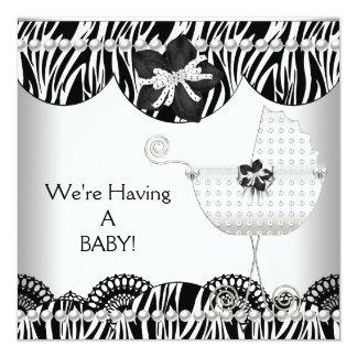 We're Having A BABY! Black White Zebra Expecting 13 Cm X 13 Cm Square Invitation Card