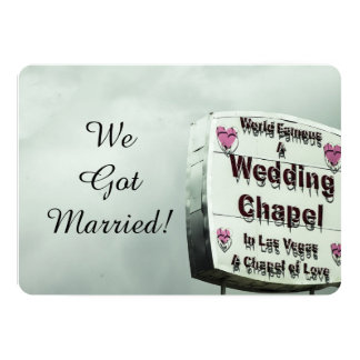 """We're Married""  Las Vegas Eloped  nnouncement Card"