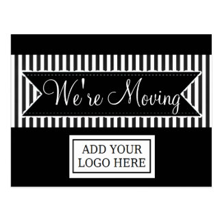 We're Moving Black Striped Notification Postcards