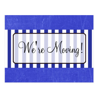 We're Moving Blue Striped Notification Postcards