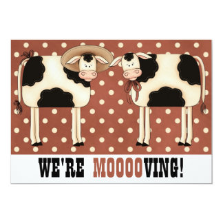 We're Moving! Funny Country Cows Housewarming 13 Cm X 18 Cm Invitation Card
