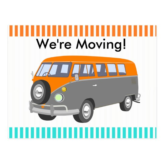 We're Moving, retro van Post Card