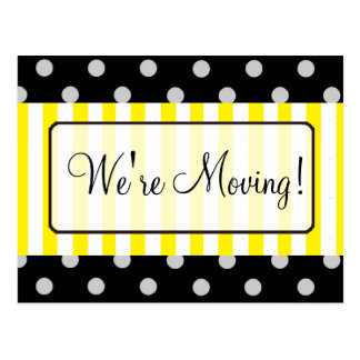 We're Moving Yellow Striped Notification Postcards
