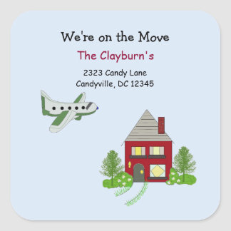 We're on the Move House and Airplane Square Sticker