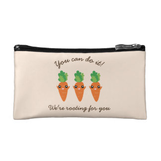 We're Rooting For You Funny Encouraging Carrots Cosmetic Bag