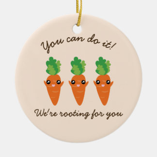 We're Rooting For You Funny Encouraging Carrots Round Ceramic Decoration