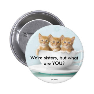 We're sisters, but what are ... 6 cm round badge