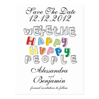 we're the happy happy people post card