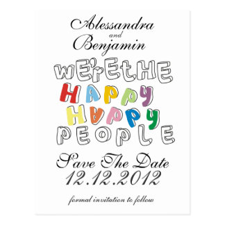 we're the happy happy people postcard