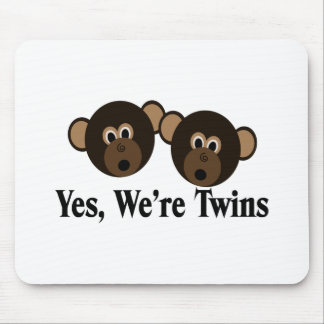We're Twins 2 Boys Monkeys Mouse Pads