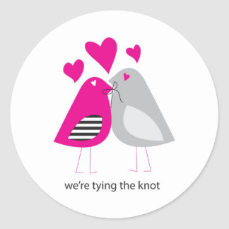 were tying the knot round sticker