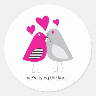 were tying the knot round sticker