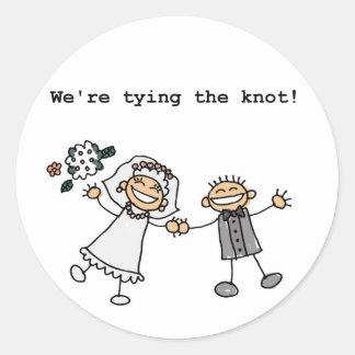 We're Tying the Knot Round Sticker