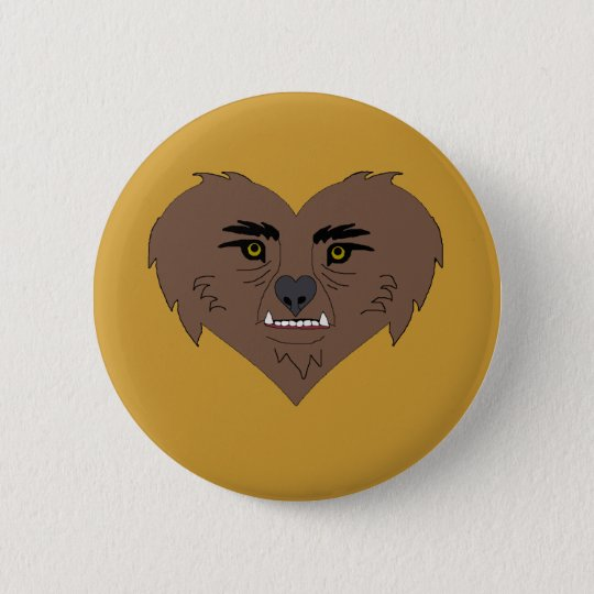 Werewolf Heart Face 6 Cm Round Badge