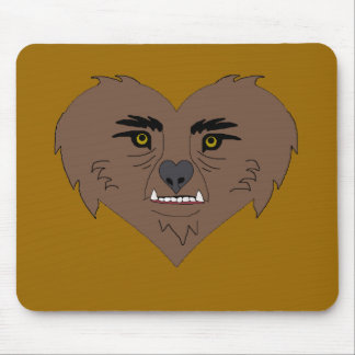 Werewolf Heart Face Mouse Pad