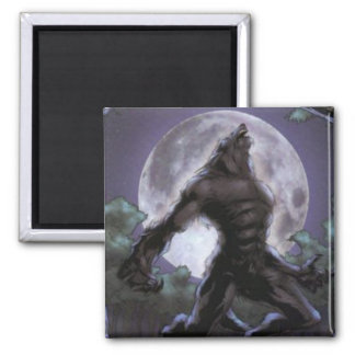 Werewolf Howling At The Moon Square Magnet