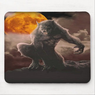 Werewolf on Red Moon Mousepad