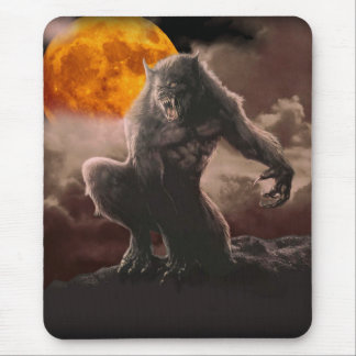 Werewolf on Red Moon Mouse Pad