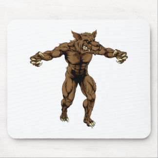 Werewolf or sports wolf mascot mousepads