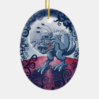 Werewolf Scratching Spooky Fleas Christmas Ornament