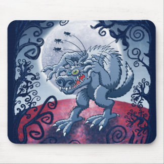 Werewolf Scratching Spooky Fleas Mouse Pad