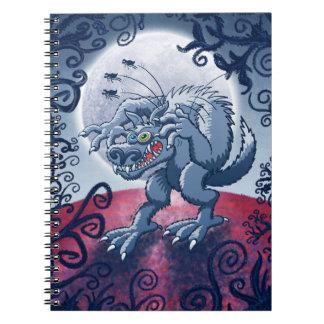 Werewolf Scratching Spooky Fleas Spiral Note Books