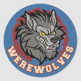 Werewolf team classic round sticker
