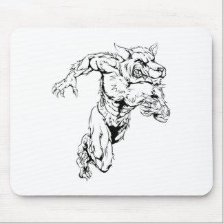 Werewolf wolf sports mascot running mouse pad
