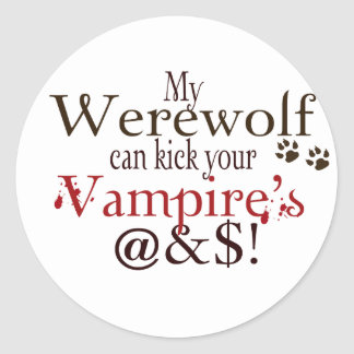 werewolf word art classic round sticker