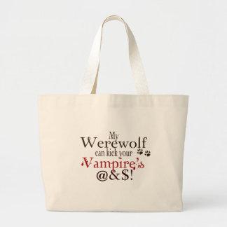 werewolf word art large tote bag