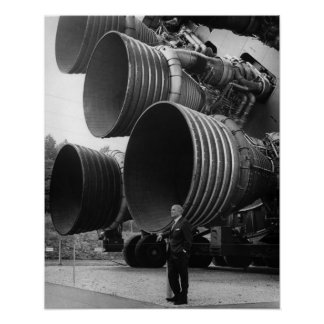 Werner von Bran and the Saturn V rocket Poster