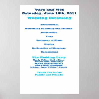 Wes and Tara Wedding Program Poster by TJBonebrake Wedding Poster