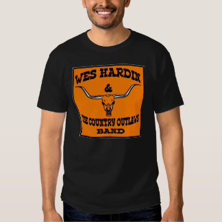 wes hardin country outlaw longhorn and guitars tshirt