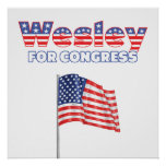 Wesley for Congress Patriotic American Flag Poster