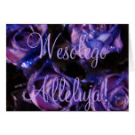Wesołego Alleluja Polish Happy Easter Purple Roses Greeting Card