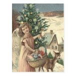 WESOLYCH SWIAT BOZEGO NARODZENIA ANGEL DEER TREE POSTCARD