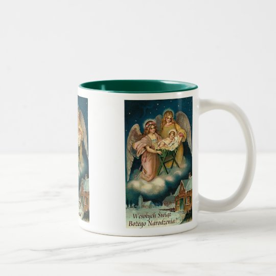 Wesolych Swiat Bozego Narodzenia Merry Christmas Two-Tone Coffee Mug
