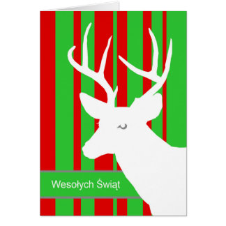 Wesolych Swiat, Christmas in Polish, White Deer Greeting Card