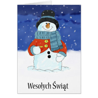 Wesołych Świąt Polish Snowman Season's Greetings Card