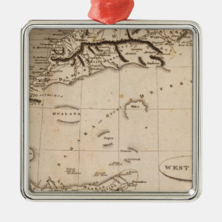West Africa Map by Arrowsmith Silver-Colored Square Decoration
