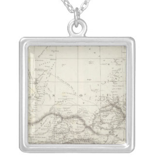 West Africa Map Silver Plated Necklace