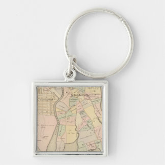 West Chester, Schuylerville, New York Silver-Colored Square Key Ring
