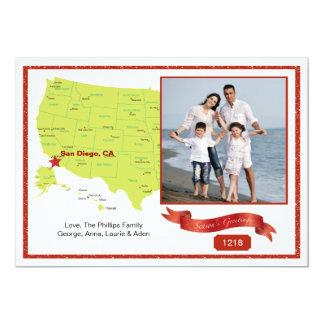 West Coast Holiday Photo Map 13 Cm X 18 Cm Invitation Card