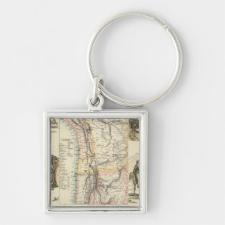 West Coast of South America Silver-Colored Square Key Ring