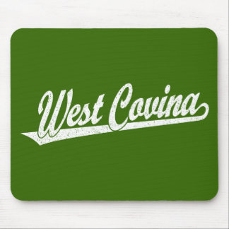 West Covina script logo in white distressed Mouse Pad